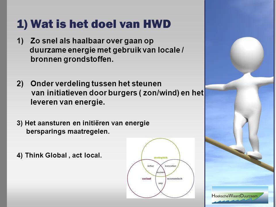 1) Wat is het doel van HWD 1)Zo snel als haalbaar over gaan op duurzame energie met gebruik van locale / bronnen grondstoffen.