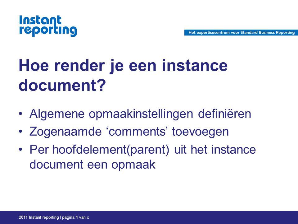 Hoe render je een instance document.