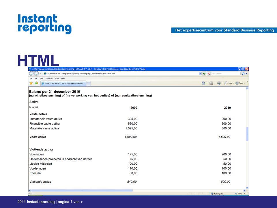 HTML 2011 Instant reporting | pagina 1 van x