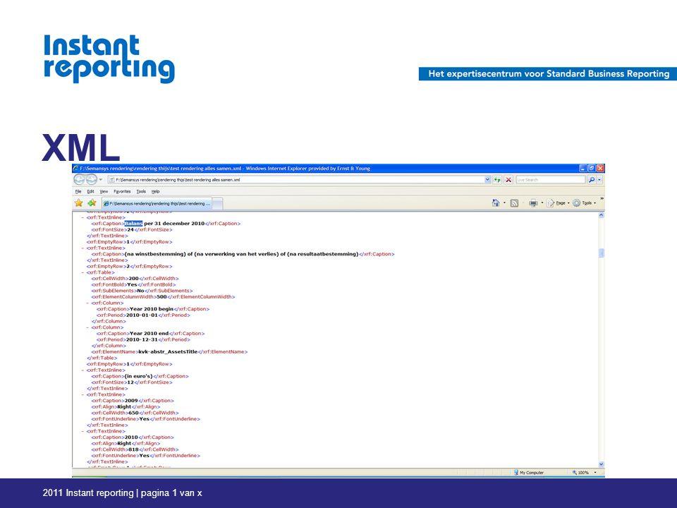XML 2011 Instant reporting | pagina 1 van x