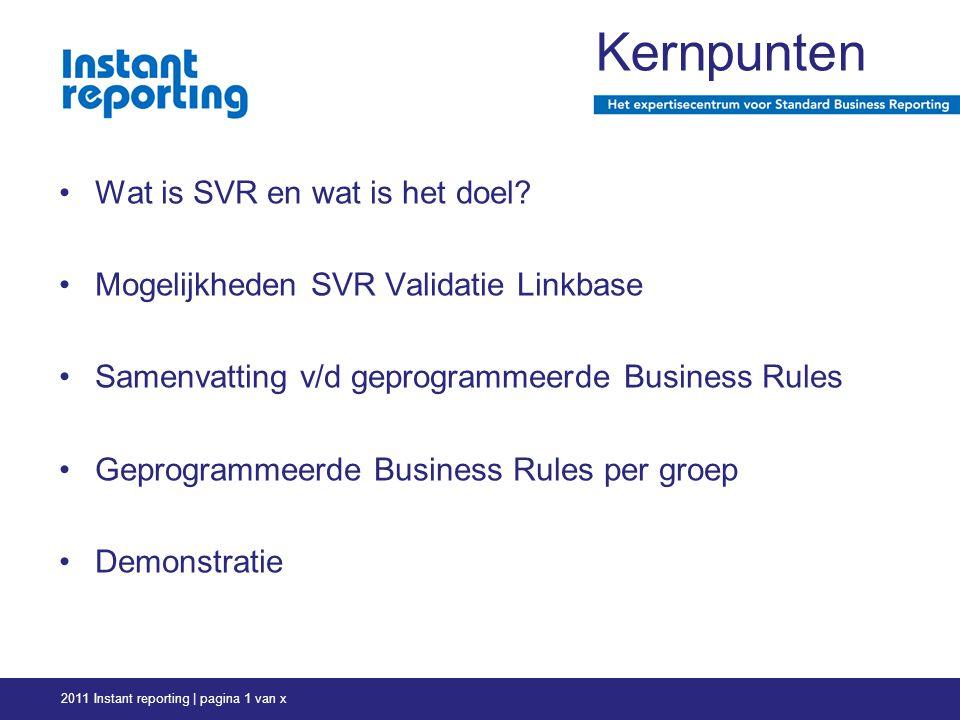 Wat is SVR en wat is het doel.