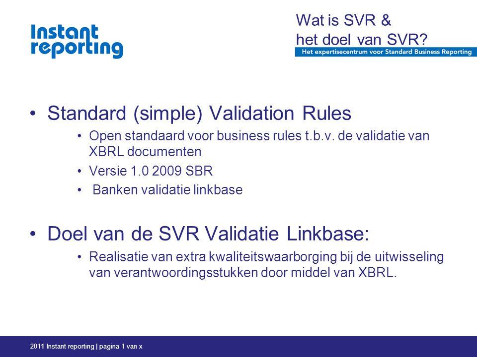2011 Instant reporting | pagina 1 van x Wat is SVR & het doel van SVR.