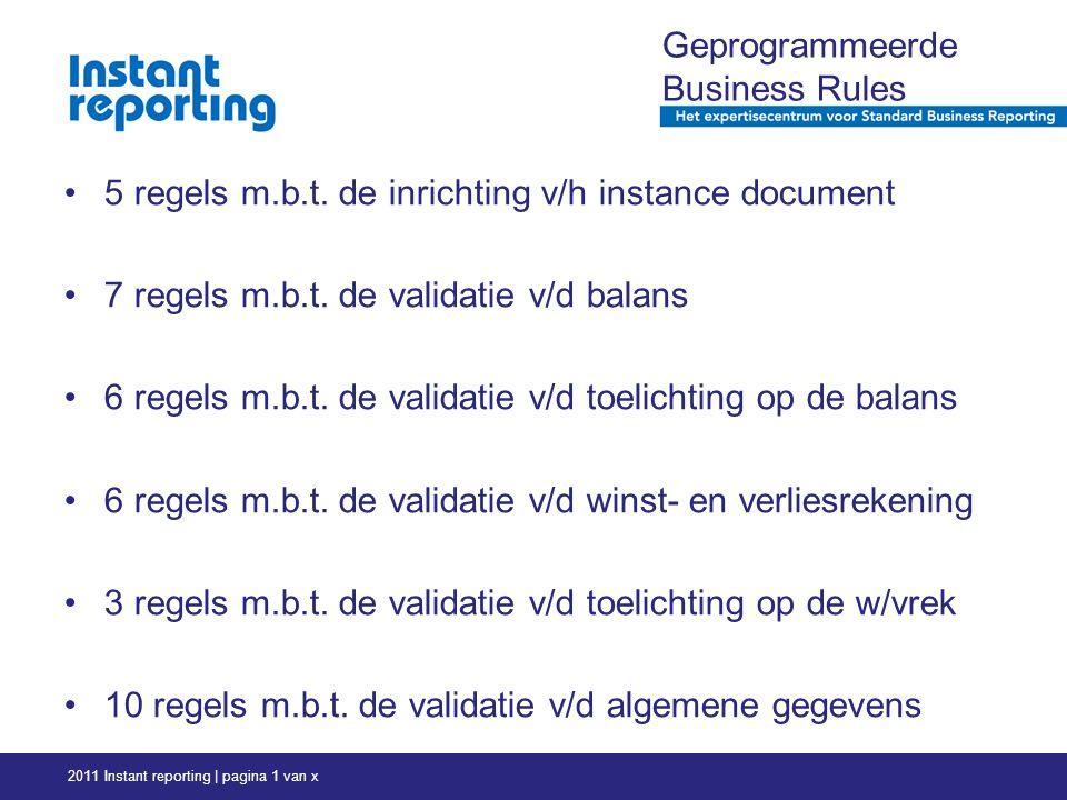 2011 Instant reporting | pagina 1 van x Geprogrammeerde Business Rules 5 regels m.b.t.