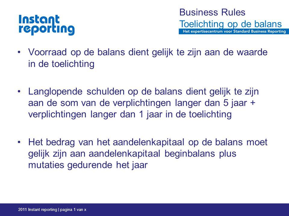 2011 Instant reporting | pagina 1 van x Business Rules Toelichting op de balans Voorraad op de balans dient gelijk te zijn aan de waarde in de toelichting Langlopende schulden op de balans dient gelijk te zijn aan de som van de verplichtingen langer dan 5 jaar + verplichtingen langer dan 1 jaar in de toelichting Het bedrag van het aandelenkapitaal op de balans moet gelijk zijn aan aandelenkapitaal beginbalans plus mutaties gedurende het jaar