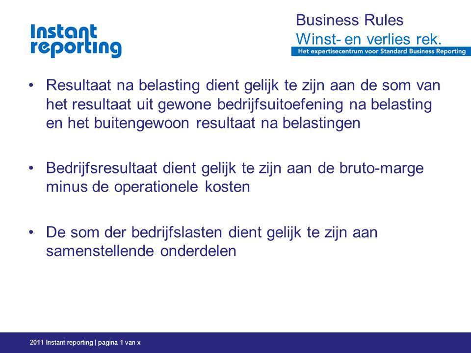 2011 Instant reporting | pagina 1 van x Business Rules Winst- en verlies rek.