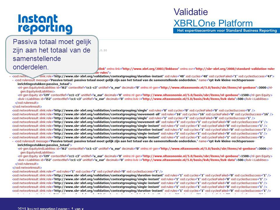 2011 Instant reporting | pagina 1 van x Pagi na 31 23 mei 2011 Passiva totaal moet gelijk zijn aan het totaal van de samenstellende onderdelen.