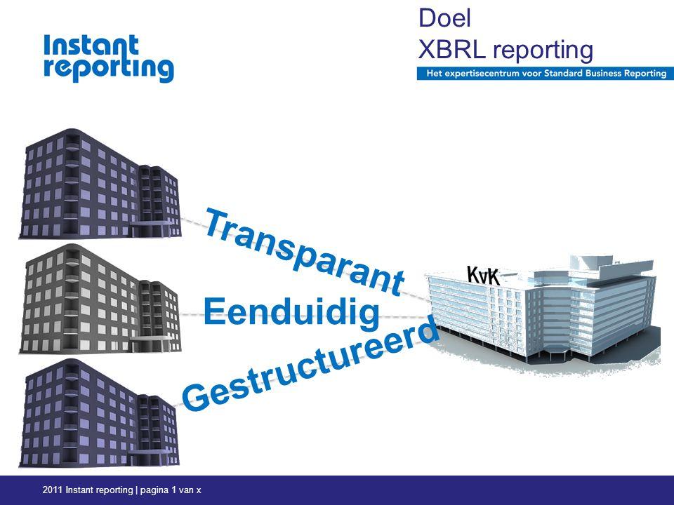 2011 Instant reporting | pagina 1 van x Doel XBRL reporting 4© Semansys Technologies BV Transparant Eenduidig Gestructureerd