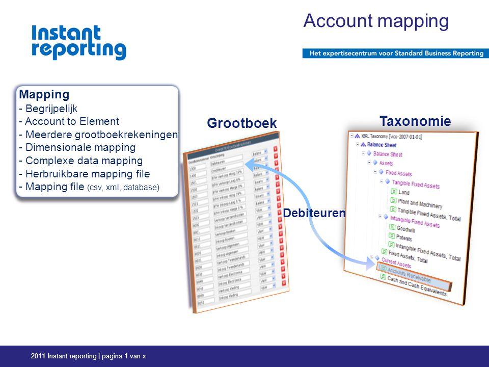 2011 Instant reporting | pagina 1 van x Grootboek Taxonomie Debiteuren Account mapping