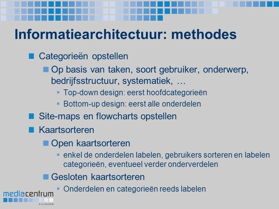 Informatiearchitectuur: methodes Categorieën opstellen Op basis van taken, soort gebruiker, onderwerp, bedrijfsstructuur, systematiek, …  Top-down de