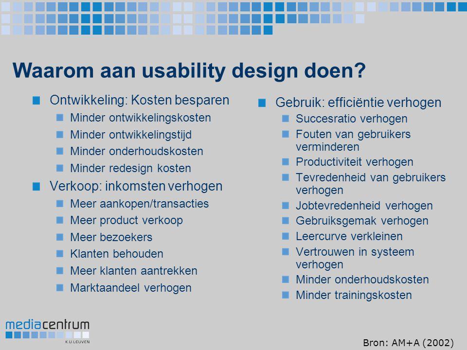 Waarom aan usability design doen? Ontwikkeling: Kosten besparen Minder ontwikkelingskosten Minder ontwikkelingstijd Minder onderhoudskosten Minder red