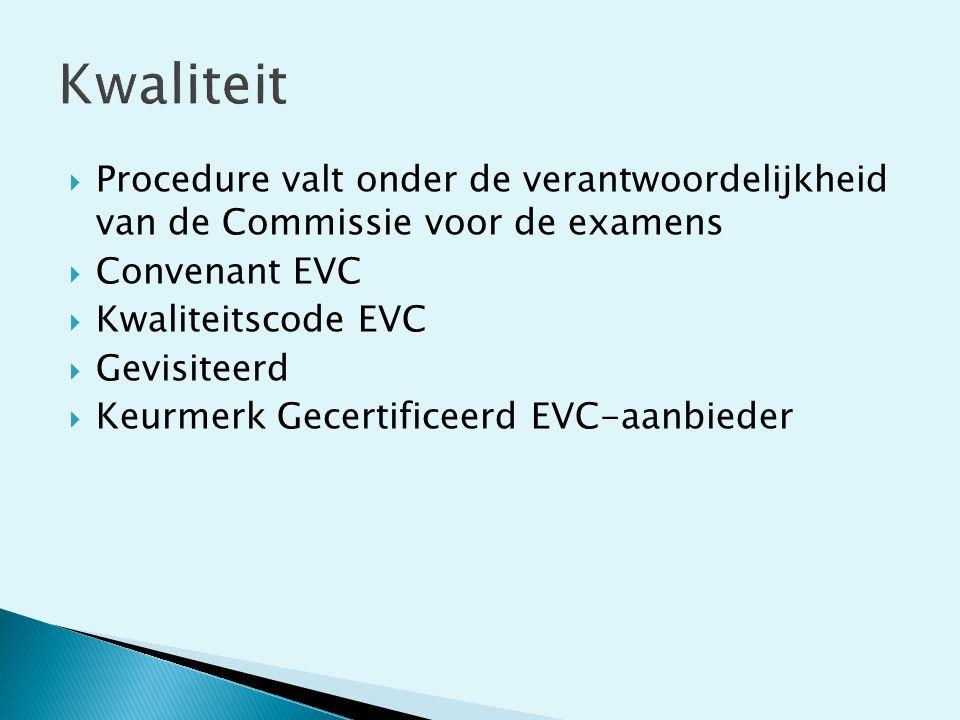  Procedure valt onder de verantwoordelijkheid van de Commissie voor de examens  Convenant EVC  Kwaliteitscode EVC  Gevisiteerd  Keurmerk Gecertif
