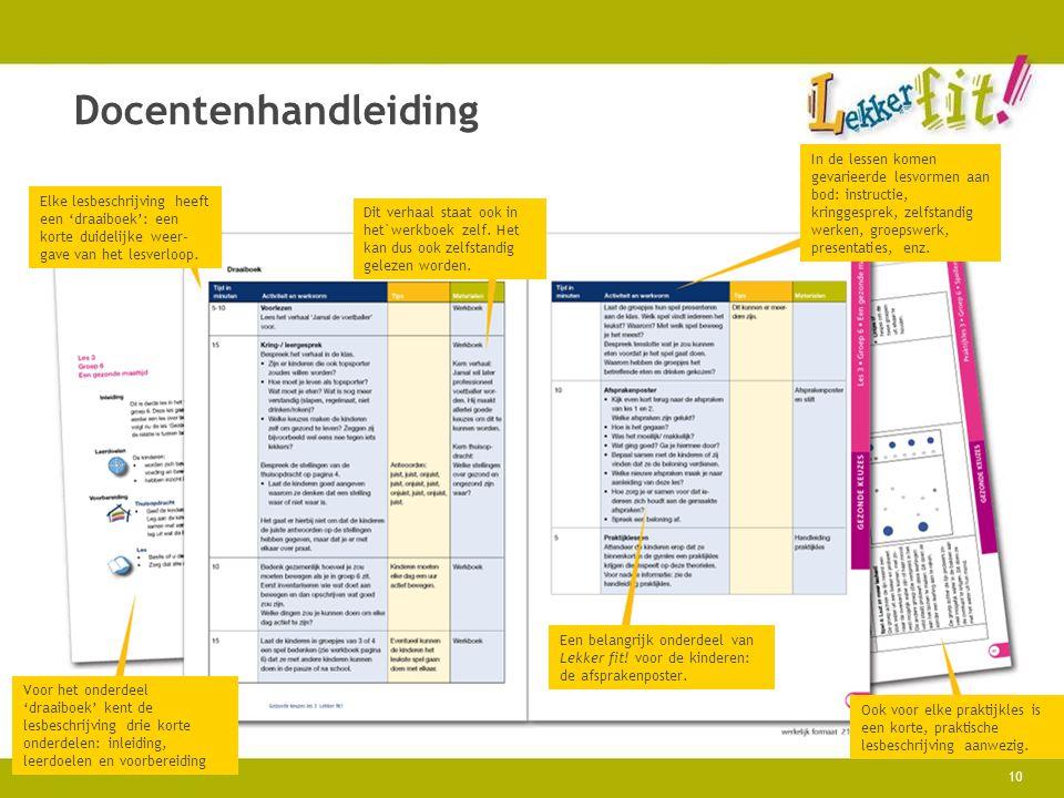10 Docentenhandleiding Elke lesbeschrijving heeft een 'draaiboek': een korte duidelijke weer- gave van het lesverloop. Dit verhaal staat ook in het`we