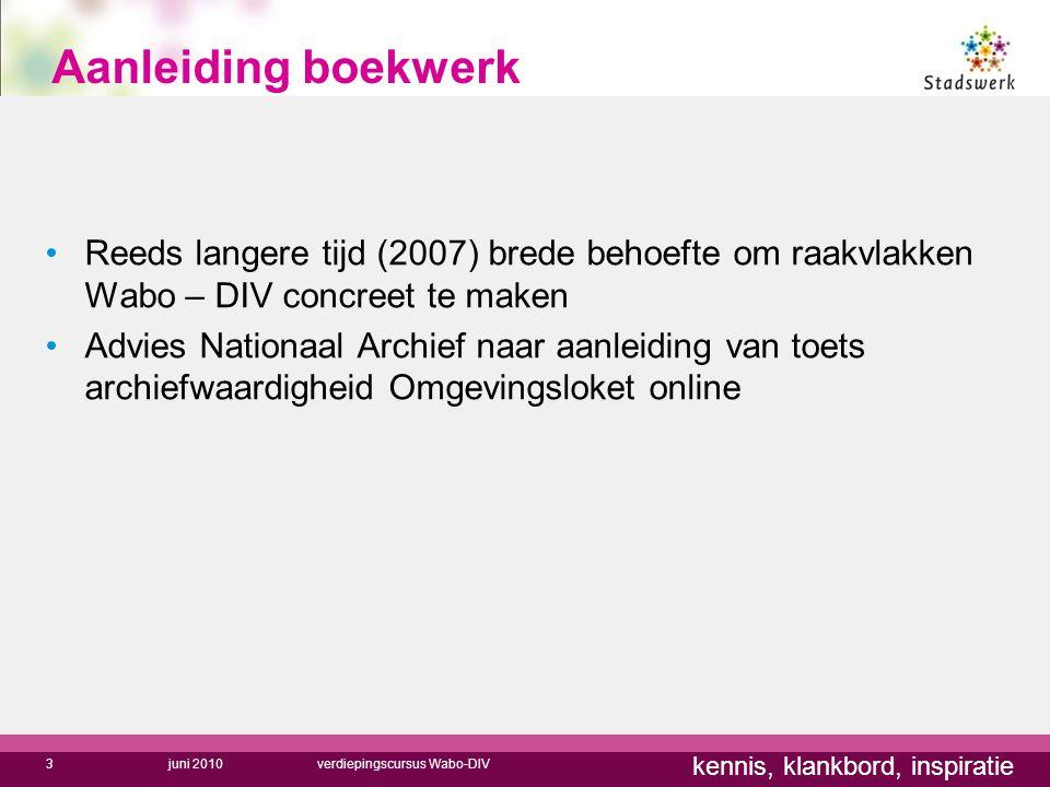 kennis, klankbord, inspiratie Aanleiding boekwerk Reeds langere tijd (2007) brede behoefte om raakvlakken Wabo – DIV concreet te maken Advies Nationaa