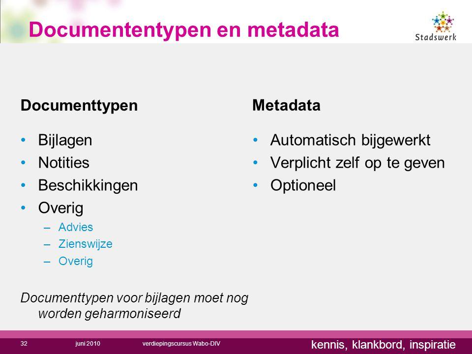 kennis, klankbord, inspiratie Documenttypen Metadata Bijlagen Notities Beschikkingen Overig –Advies –Zienswijze –Overig Documenttypen voor bijlagen mo