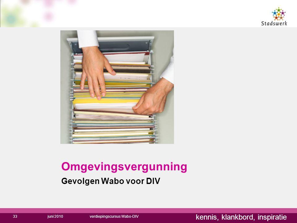 kennis, klankbord, inspiratie Omgevingsvergunning Gevolgen Wabo voor DIV juni 2010verdiepingscursus Wabo-DIV33