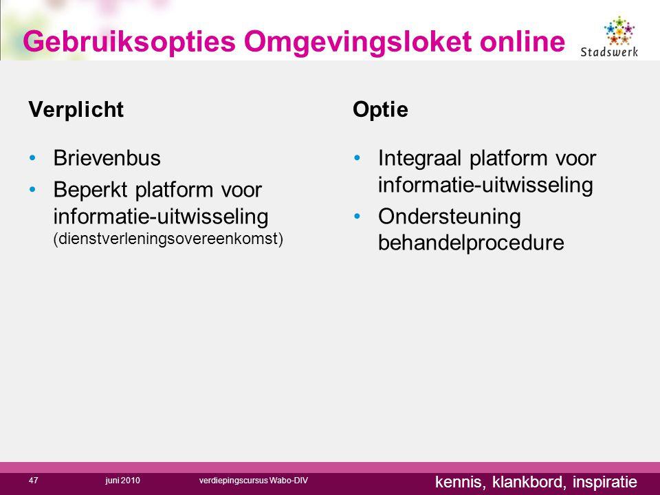 kennis, klankbord, inspiratie Verplicht Optie Brievenbus Beperkt platform voor informatie-uitwisseling (dienstverleningsovereenkomst) Integraal platfo