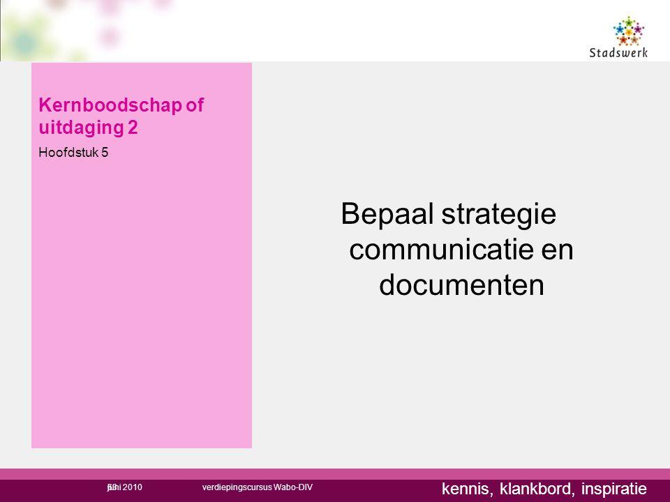 kennis, klankbord, inspiratie Kernboodschap of uitdaging 2 Hoofdstuk 5 Bepaal strategie communicatie en documenten 63juni 2010verdiepingscursus Wabo-D