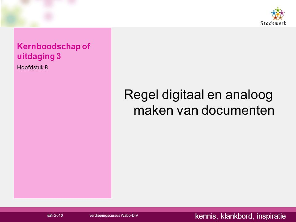 kennis, klankbord, inspiratie Kernboodschap of uitdaging 3 Hoofdstuk 8 Regel digitaal en analoog maken van documenten 68juni 2010verdiepingscursus Wab