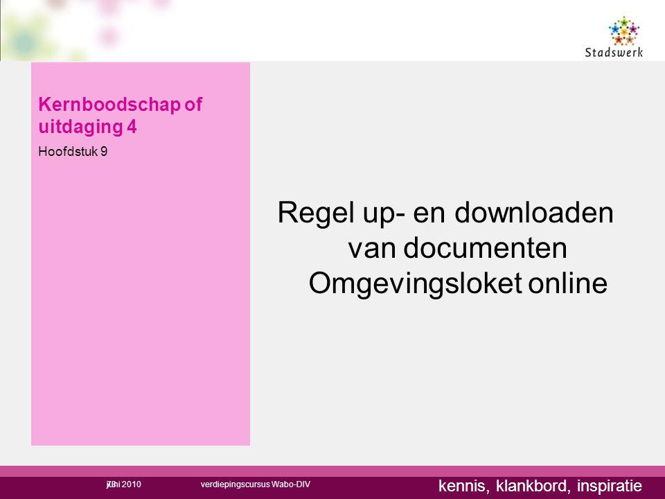 kennis, klankbord, inspiratie Kernboodschap of uitdaging 4 Hoofdstuk 9 Regel up- en downloaden van documenten Omgevingsloket online 73juni 2010verdiep