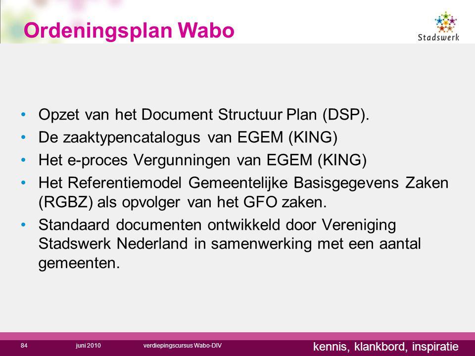 kennis, klankbord, inspiratie Ordeningsplan Wabo Opzet van het Document Structuur Plan (DSP). De zaaktypencatalogus van EGEM (KING) Het e-proces Vergu