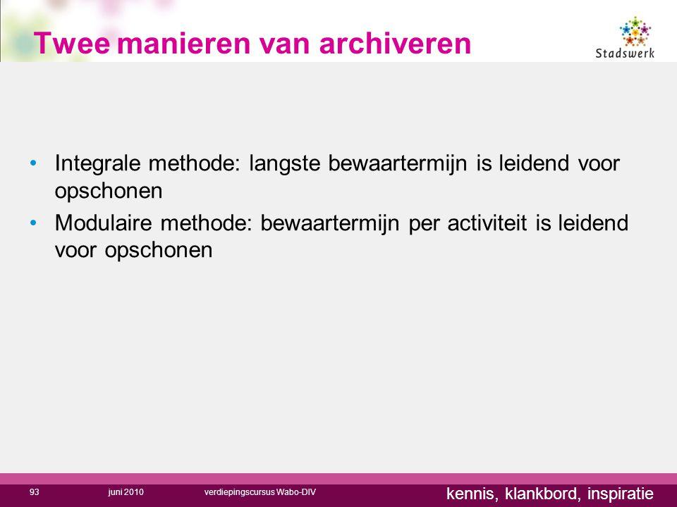 kennis, klankbord, inspiratie Twee manieren van archiveren Integrale methode: langste bewaartermijn is leidend voor opschonen Modulaire methode: bewaa
