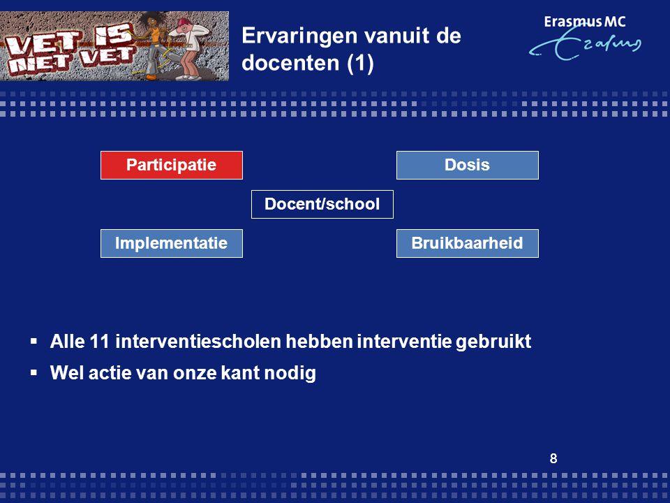 8 Ervaringen vanuit de docenten (1)  Alle 11 interventiescholen hebben interventie gebruikt  Wel actie van onze kant nodig 8 ParticipatieDosis ImplementatieBruikbaarheid Docent/school