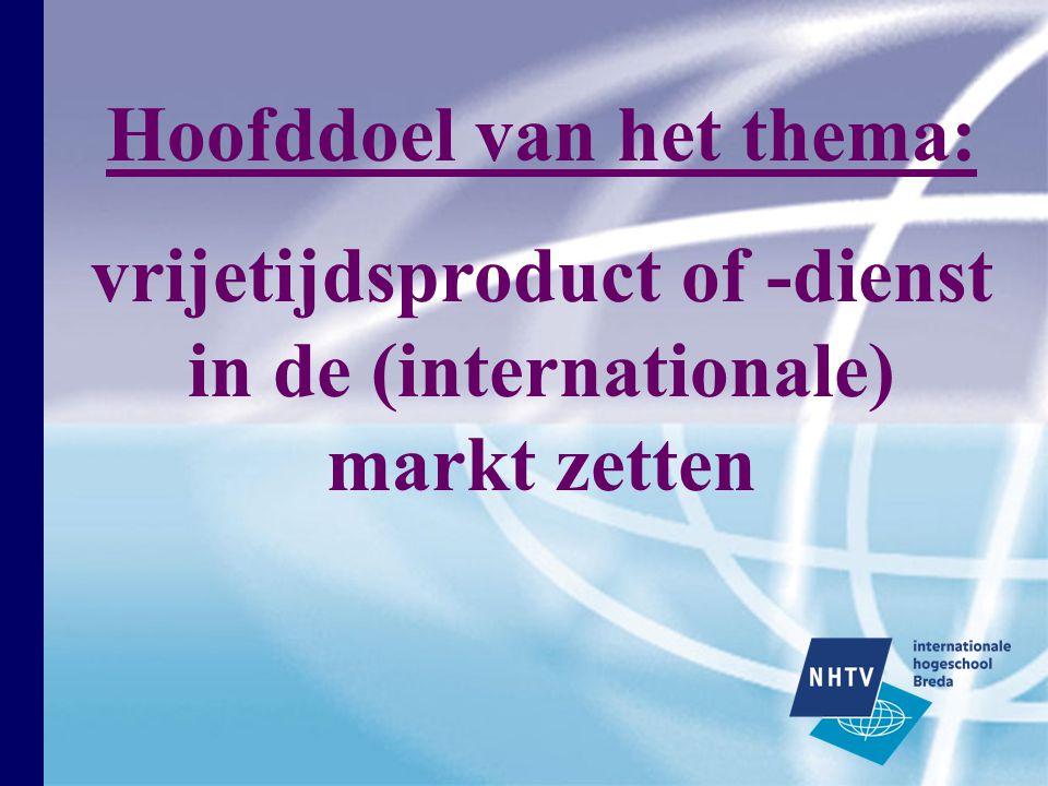Hoofddoel van het thema: vrijetijdsproduct of -dienst in de (internationale) markt zetten