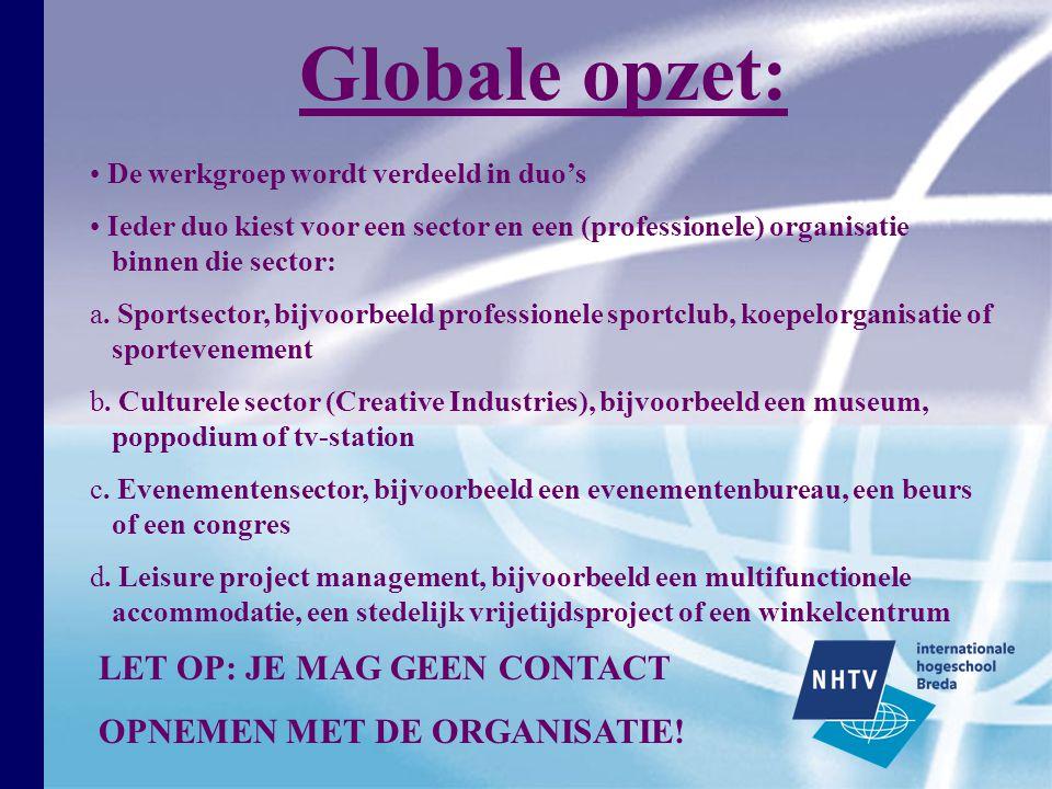 De werkgroep wordt verdeeld in duo's Ieder duo kiest voor een sector en een (professionele) organisatie binnen die sector: a.