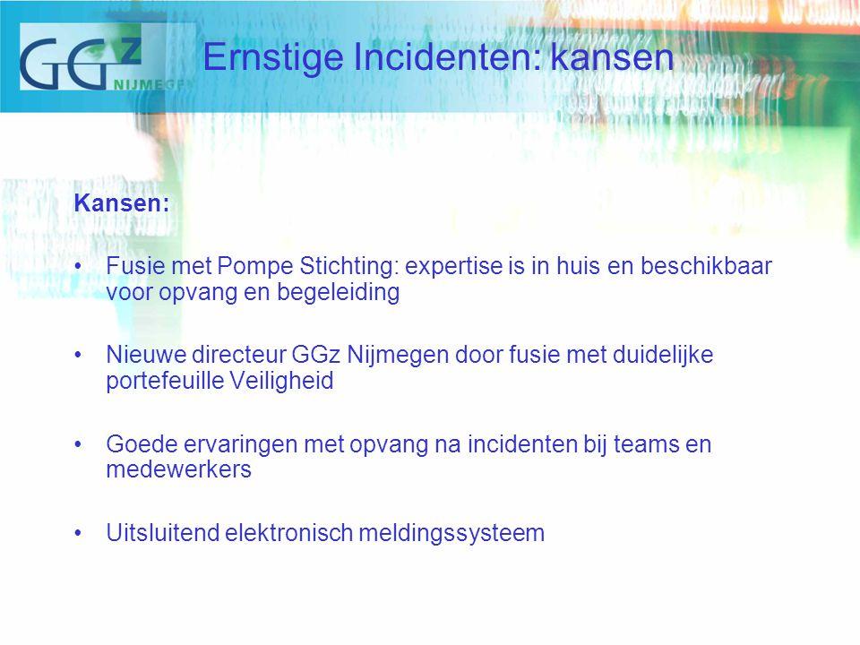 Kansen: Fusie met Pompe Stichting: expertise is in huis en beschikbaar voor opvang en begeleiding Nieuwe directeur GGz Nijmegen door fusie met duidelijke portefeuille Veiligheid Goede ervaringen met opvang na incidenten bij teams en medewerkers Uitsluitend elektronisch meldingssysteem Ernstige Incidenten: kansen