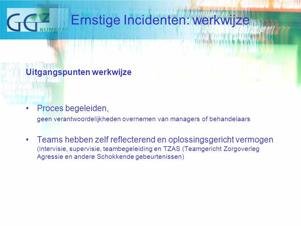Uitgangspunten werkwijze Proces begeleiden, geen verantwoordelijkheden overnemen van managers of behandelaars Teams hebben zelf reflecterend en oplossingsgericht vermogen (intervisie, supervisie, teambegeleiding en TZAS (Teamgericht Zorgoverleg Agressie en andere Schokkende gebeurtenissen) Ernstige Incidenten: werkwijze
