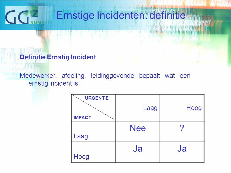 Definitie Ernstig Incident Medewerker, afdeling, leidinggevende bepaalt wat een ernstig incident is.