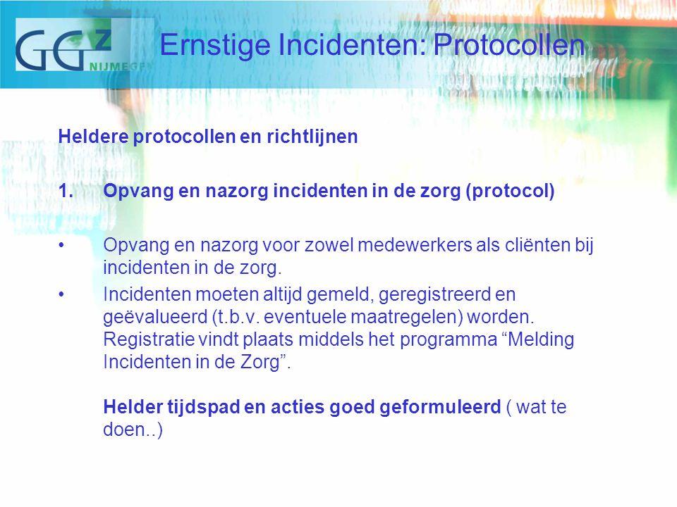 Heldere protocollen en richtlijnen 1.Opvang en nazorg incidenten in de zorg (protocol) Opvang en nazorg voor zowel medewerkers als cliënten bij incidenten in de zorg.
