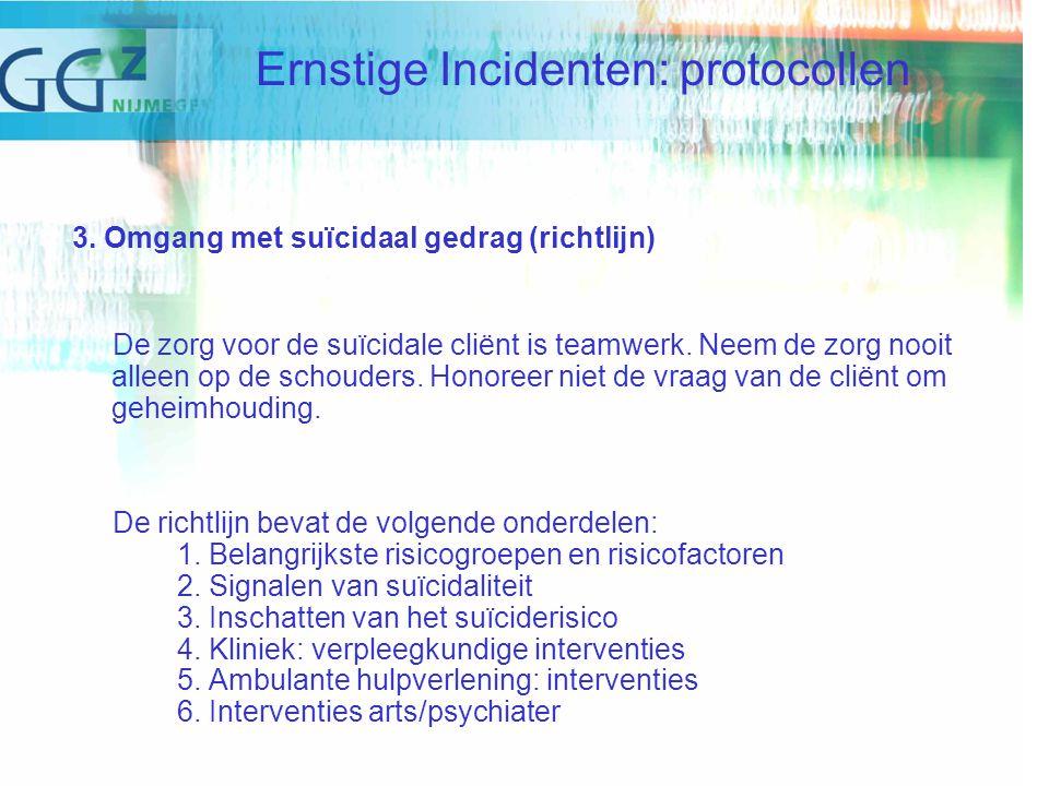 3. Omgang met suïcidaal gedrag (richtlijn) De zorg voor de suïcidale cliënt is teamwerk.
