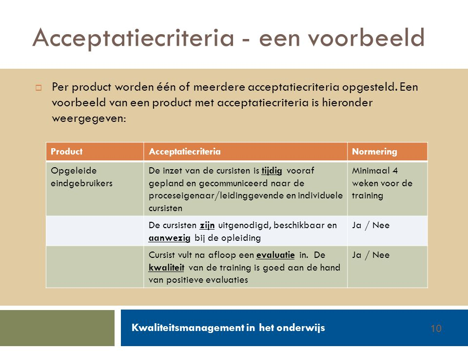 Walter Groen / Jurgen van de Donk 14/2/201210  Per product worden één of meerdere acceptatiecriteria opgesteld. Een voorbeeld van een product met acc