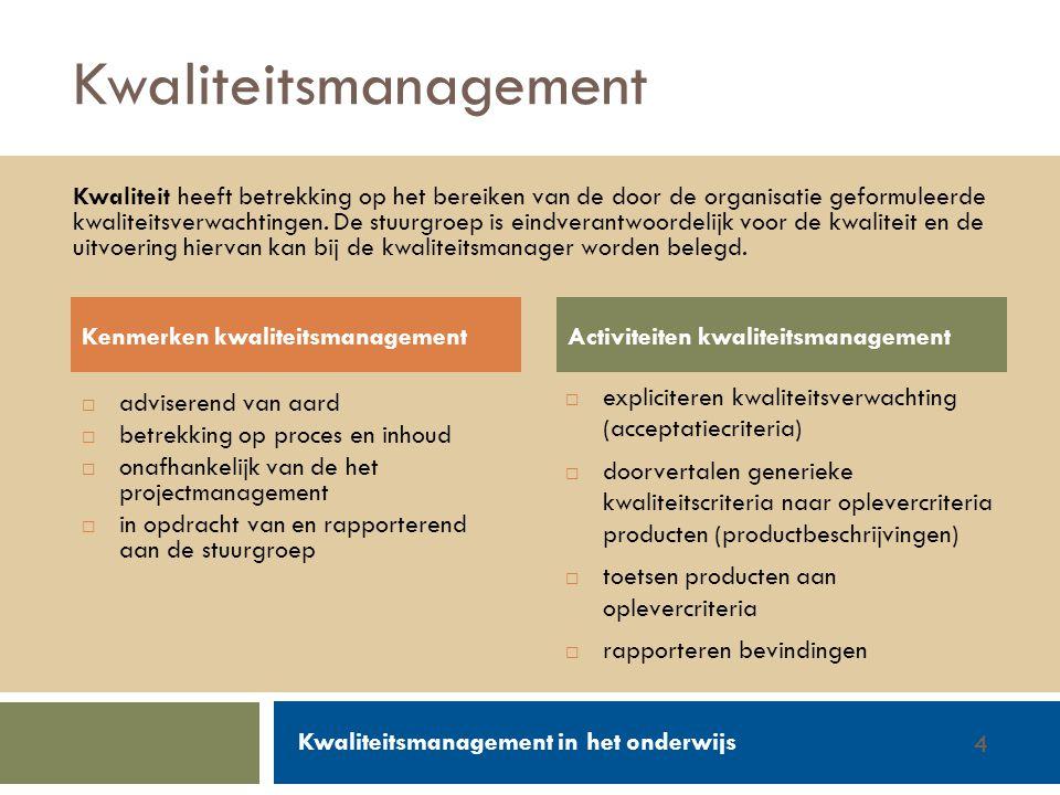 Walter Groen / Jurgen van de Donk 14/2/20124 Kwaliteitsmanagement  adviserend van aard  betrekking op proces en inhoud  onafhankelijk van de het pr
