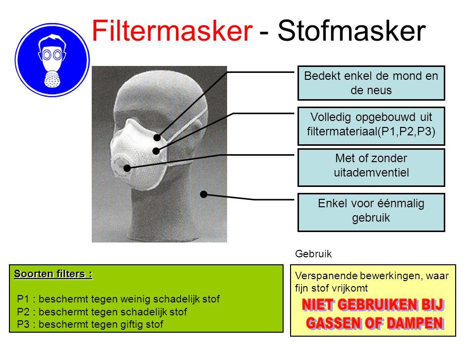 Filtermasker - Stofmasker Bedekt enkel de mond en de neus Volledig opgebouwd uit filtermateriaal(P1,P2,P3) Verspanende bewerkingen, waar fijn stof vri