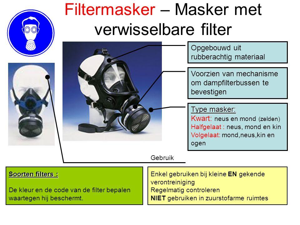 Filtermasker – Masker met verwisselbare filter Opgebouwd uit rubberachtig materiaal Voorzien van mechanisme om dampfilterbussen te bevestigen Enkel ge