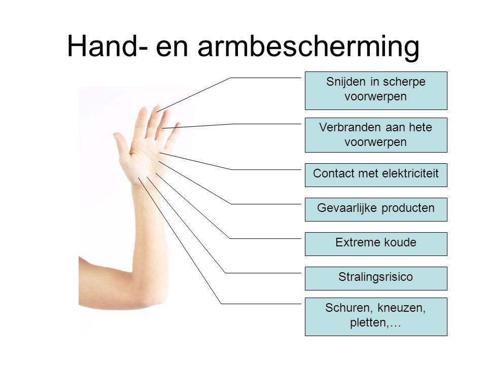 Hand- en armbescherming Snijden in scherpe voorwerpen Verbranden aan hete voorwerpen Contact met elektriciteit Gevaarlijke producten Extreme koude Str