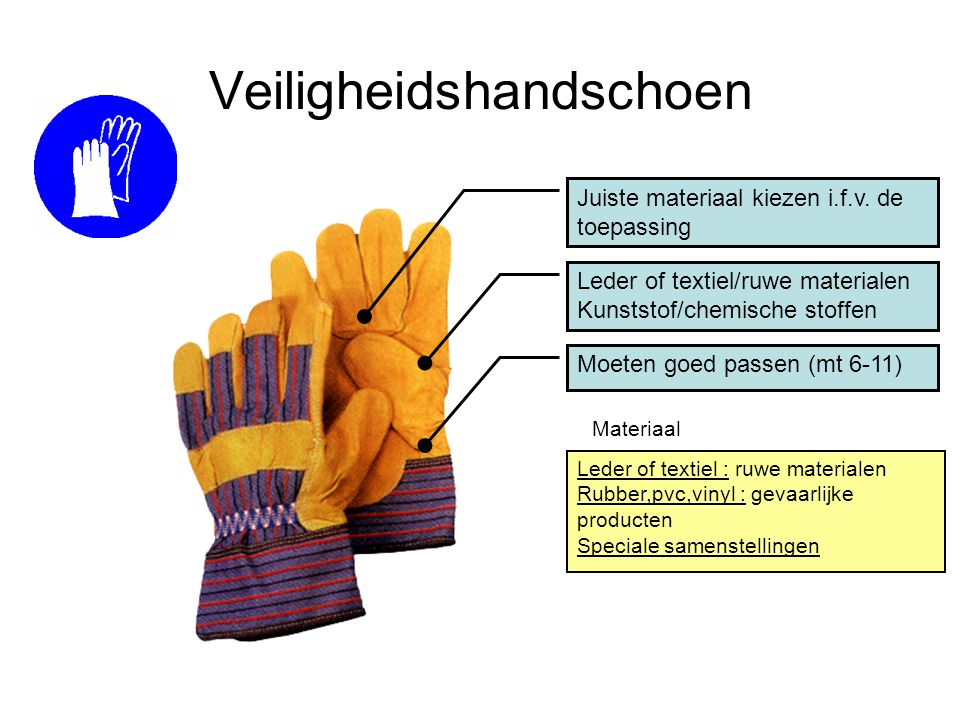 Veiligheidshandschoen Juiste materiaal kiezen i.f.v. de toepassing Leder of textiel/ruwe materialen Kunststof/chemische stoffen Leder of textiel : ruw