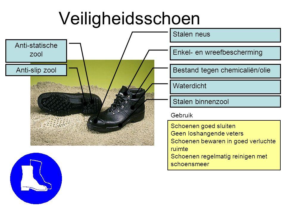 Veiligheidsschoen Stalen neus Stalen binnenzool Schoenen goed sluiten Geen loshangende veters Schoenen bewaren in goed verluchte ruimte Schoenen regel