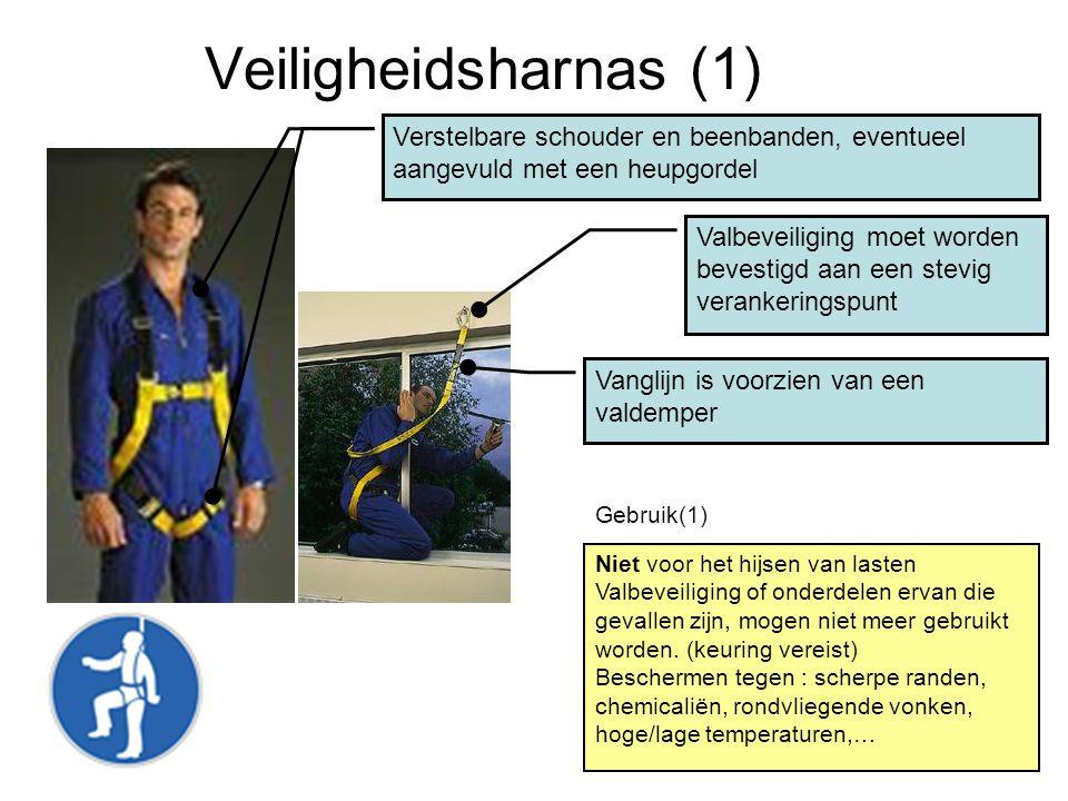 Veiligheidsharnas (1) Verstelbare schouder en beenbanden, eventueel aangevuld met een heupgordel Vanglijn is voorzien van een valdemper Niet voor het