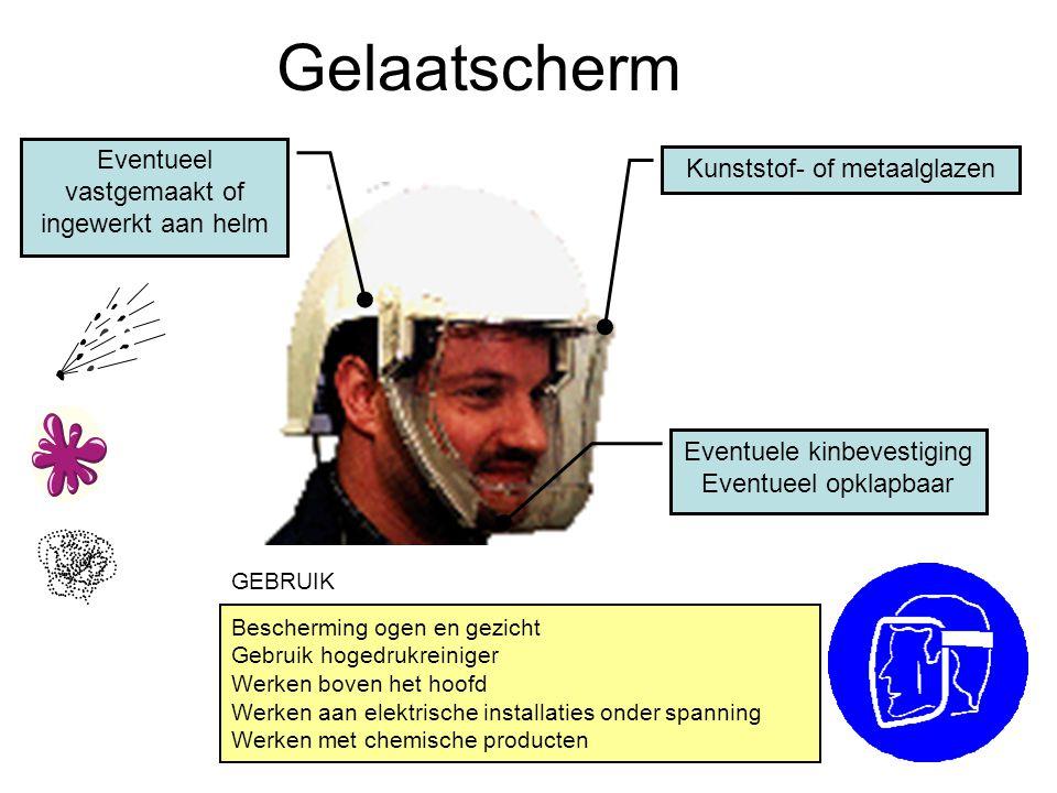 Gelaatscherm Kunststof- of metaalglazen Eventueel vastgemaakt of ingewerkt aan helm Eventuele kinbevestiging Eventueel opklapbaar Bescherming ogen en