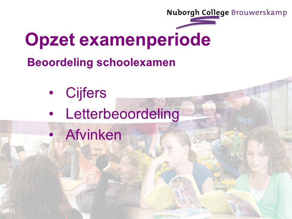 Beoordeling schoolexamen Cijfers Letterbeoordeling Afvinken Opzet examenperiode