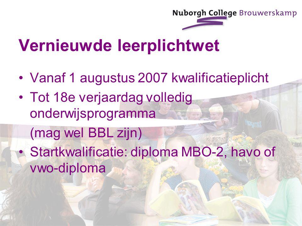 Vernieuwde leerplichtwet Vanaf 1 augustus 2007 kwalificatieplicht Tot 18e verjaardag volledig onderwijsprogramma (mag wel BBL zijn) Startkwalificatie: diploma MBO-2, havo of vwo-diploma