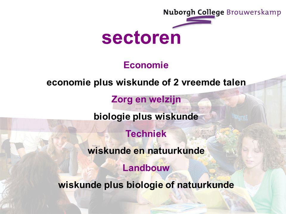 sectoren Economie economie plus wiskunde of 2 vreemde talen Zorg en welzijn biologie plus wiskunde Techniek wiskunde en natuurkunde Landbouw wiskunde plus biologie of natuurkunde