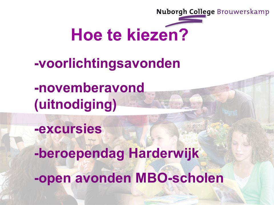 -voorlichtingsavonden -novemberavond (uitnodiging) -excursies -beroependag Harderwijk -open avonden MBO-scholen Hoe te kiezen