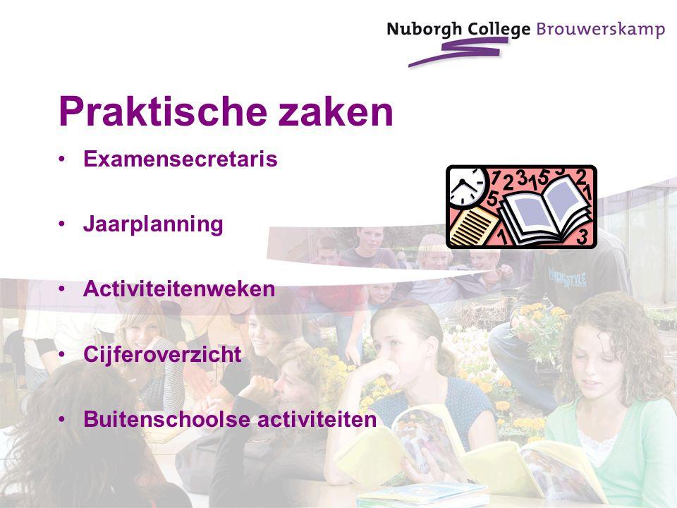 Praktische zaken Examensecretaris Jaarplanning Activiteitenweken Cijferoverzicht Buitenschoolse activiteiten