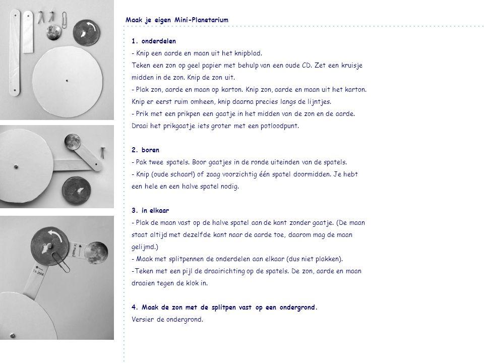 Maak je eigen Mini-Planetarium 1. onderdelen - Knip een aarde en maan uit het knipblad. Teken een zon op geel papier met behulp van een oude CD. Zet e