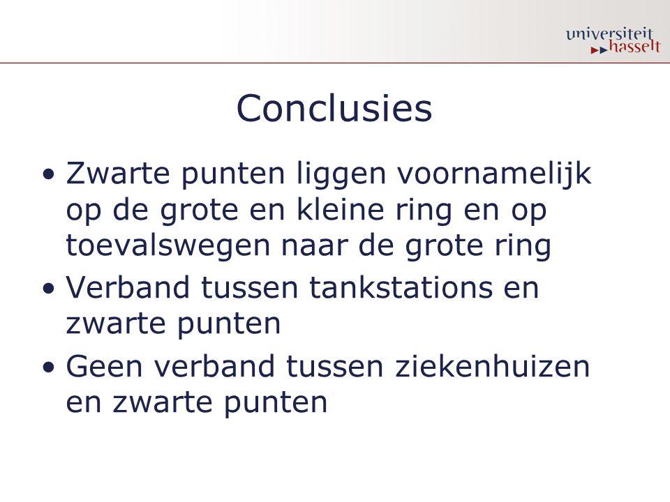 Conclusies Zwarte punten liggen voornamelijk op de grote en kleine ring en op toevalswegen naar de grote ring Verband tussen tankstations en zwarte pu