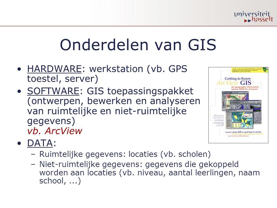 Onderdelen van GIS HARDWARE: werkstation (vb. GPS toestel, server) SOFTWARE: GIS toepassingspakket (ontwerpen, bewerken en analyseren van ruimtelijke